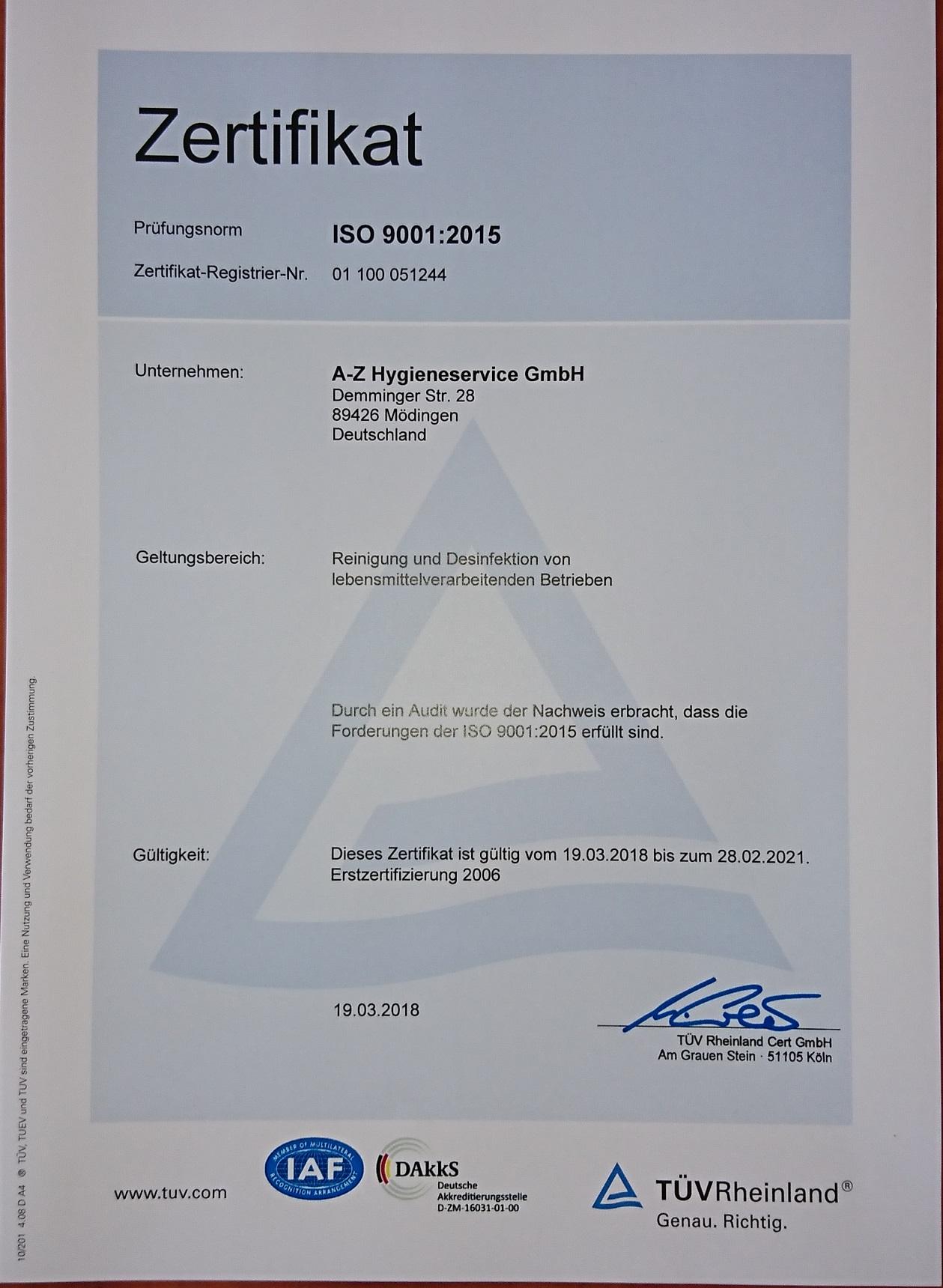 Zertifikat Deutsch1